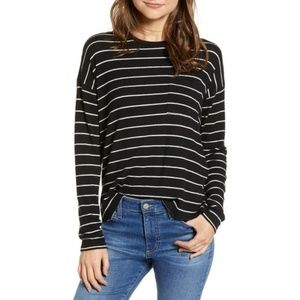 Rails Women's Black Ezra Stripe Pocket Tee M